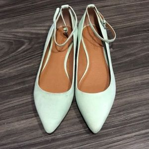 Mint green Madewell Flats with strap